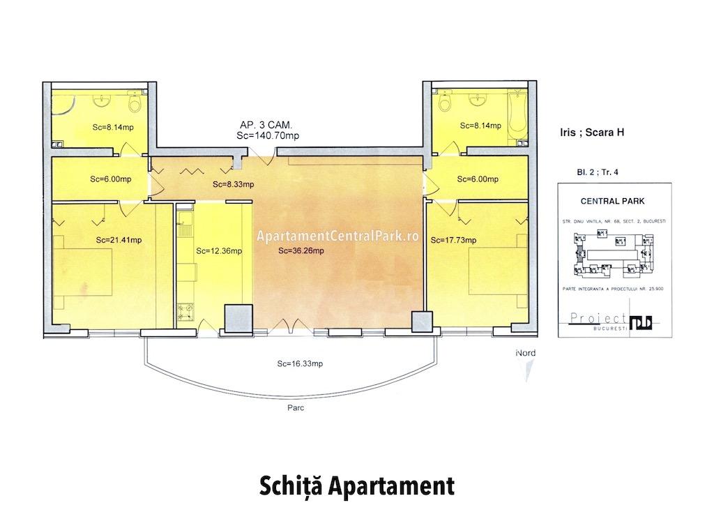 Schita Apartament Central Park Bucuresti - 3 camere
